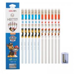 deli得力铅笔六角笔 铅笔带橡皮头 儿童六角杆HB铅笔 汪汪队立大功