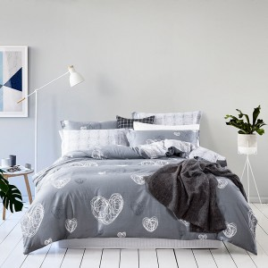 太湖雪床上用品四件套 200*230全棉 1个被套1个床单2个枕套-心跳灰