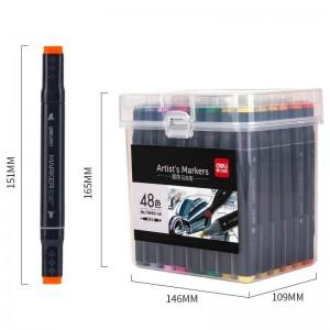deli得力彩色双头马克笔 手绘设计学生用绘画涂鸦动漫建筑美术设计画笔70800